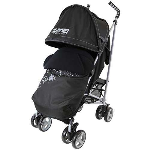 Zeta Vooom Stroller Complete with Foot Muff and Raincover (Black Hearts and Stars) 41 xwc0OyIL