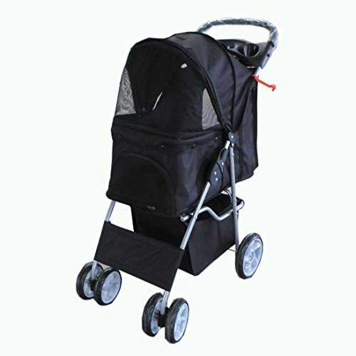 FoxHunter New Black Dog Puppy Cat Pet Travel Stroller Pushchair Pram Jogger Buggy With Two Front Swivel Wheels And Rear Brake 41aehZr6h5L