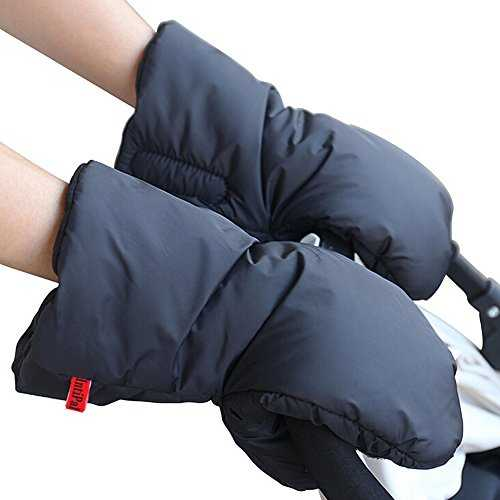Stroller Hand Muff – IntiPal Pram Pushchair Gloves -Waterproof Anti-freeze Extra Thick Warm Winter Baby Carriage Hand Cover Stroller Accessories (Black) 51GaBdnk2ZL