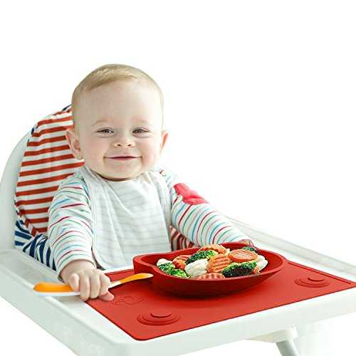 Baby High Chair Feeding Placemat – Portable Meal Tray / Infant Led Weaning Bowl with Extra Suction Pads ensuring No Mess – BPA & Toxic Free 51JEL7FCAsL