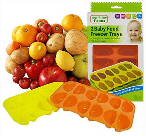 Set of 2 Baby Food Freezer Trays & Lids Weaning Freezing Cubes Pots 24 Portions 51a6Ax0g2oL