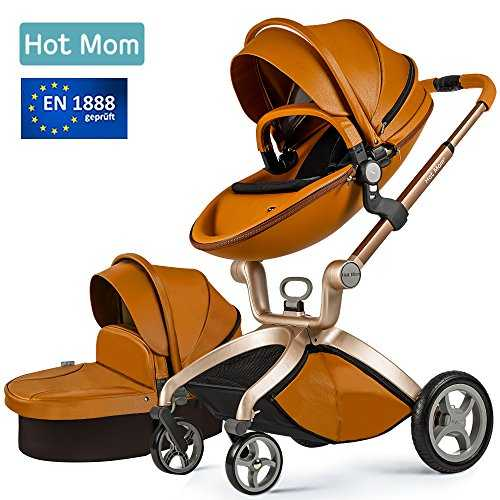 Hot Mom Pushchair 2017, 3 in 1 Baby Stroller Travel System With Bassinet Brown (black) 51pX0pStMOL