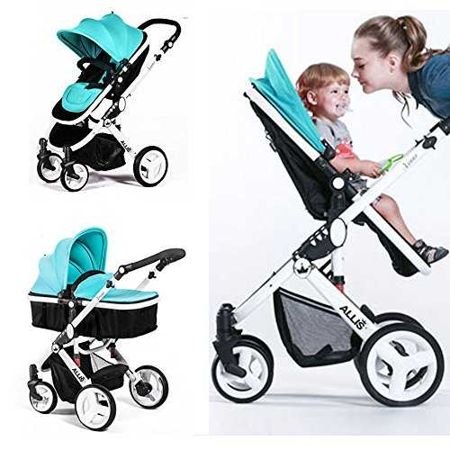 Allis® Baby Pram Pushchair Buggy Stroller Carry Cot Travel 2in1 Turquoise 51i15DdX2mL