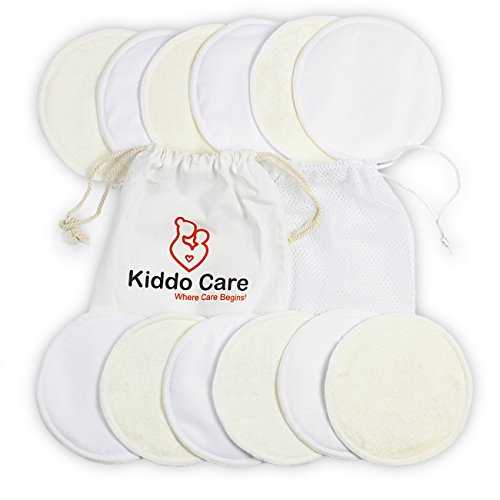 Kiddo Care Washable Organic Bamboo Nursing Pads -12 PACK WHITE (6 pairs)- Reusable Breast Pads,Bra pads, Leakproof, Ultra soft, Waterproof, Hypoallergenic breastfeeding pads, absorbent pads! 41BCSq7ugL