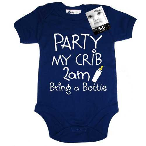 Dirty Fingers, PARTY my crib 2am, Bring a Bottle, Baby Unisex Boy Girl Bodysuit, 3-6m, Navy 41vFpjvqmhL