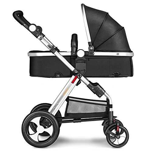 Besrey 2 in 1 Foldable Stroller High View Newborn Pushchair 5 Point Safety Harness and Shock Absorbers – Black 518bnkbWfRL
