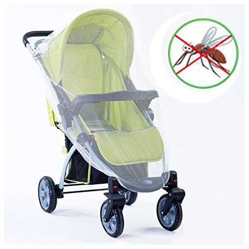 MOSQUITO BUGGY NETTING Universal Pram Bed Cot Car Seat & Pushchair Baby Stroller Insect Net (One Size, White)