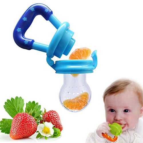 Lumanuby Baby Pacifier Clip Kids Nipple Fresh Food Milk Food Feeder Safe Baby Pacifier Bottles Nipple Teat (Blue) 51EYUGFyxaL