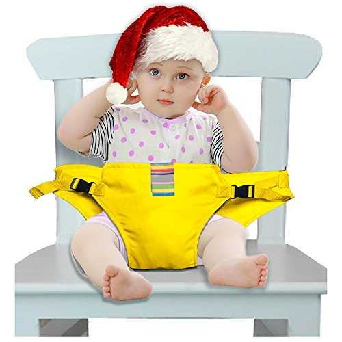 iZiv Washable Portable Travel High Chair Booster Baby Seat with Straps Toddler Safety Harness Baby Feeding Strap 3-36 Month (Yellow) 51NmwjrE1LL