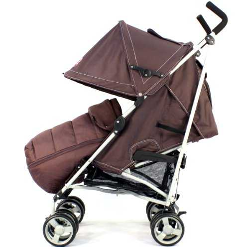 ZETA VOOOM Stroller - Hot Chocolate with Rain Cover + Deluxe foot muff