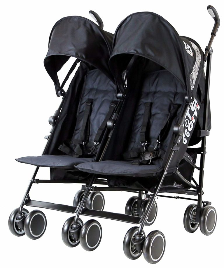 Zeta Citi TWIN Stroller Buggy Pushchair - Black Double Stroller