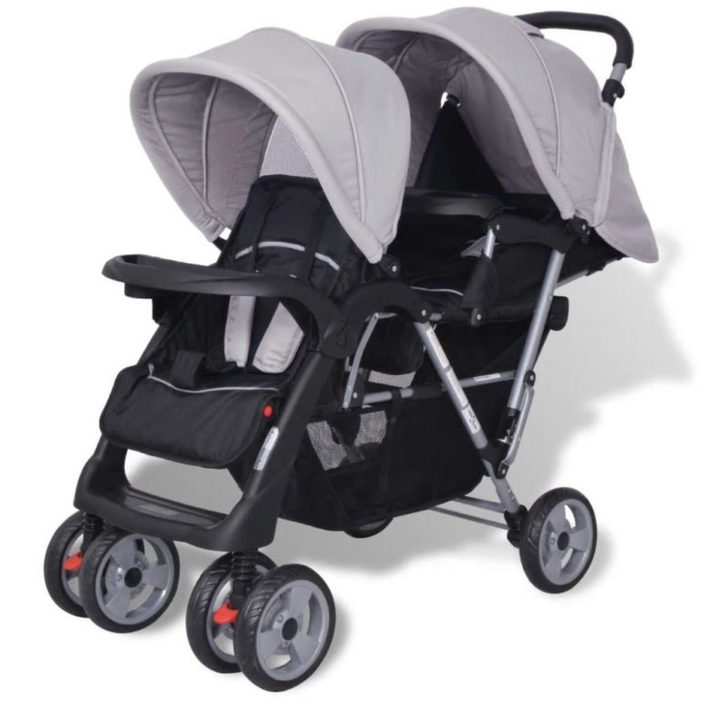 Festnight Baby Tandem Stroller/Pram Lightweight Pushchair - Grey and Black, Steel and Fabric, 118x41x108 cm