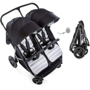 New Hauck Rapid 3R 1 Hand Fold Duo Twin Double Buggy Pushchair Pram Charcoal Black Silver