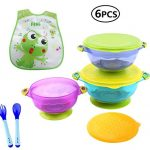 Emwel 3 Size Baby Bowls with Snap Tight Lid, Suction Base and Spoon Fork Baby Bib, Toddler Nonslip Spill-Proof Feeding Training Bowl Dinnerware - BPA Free