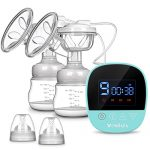 Electric Breast Pump, MOSFiATA Dual Suction Rechargeable Nursing Breastfeeding Pump with Touch Screen LCD Display, 3 Modes (9 Levels Each Mode), BPA Free FDA Certified